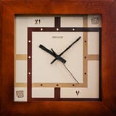 Часы настенные ДС-2АА28-077 ЭТНО  (312x312x45 мм) (дерево,квадр.коричн.ободок) Германия