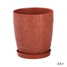Горшок цв. 0,8л Бочонок с под. (коричневый)