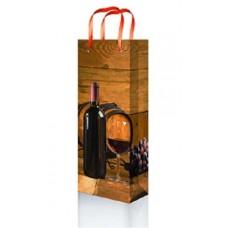 Пакет подарочный ламинированный под бутылку 12х36х8,5см Микс Кратно 12