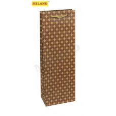 Пакет подарочный под бутылку из крафт-бумаги 12х36х8,5см Микс 12