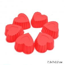 Набор форм для выпечки силиконовых 6шт.СЕРДЕЧКИ (7,3х7х3,2см)