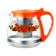 Чайник заварочный 1л жаропрочн.стекло,руч.и крыш.пласт. ВК-7624