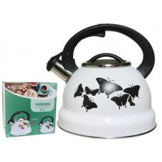 Чайник 2,5л со свистком индукц.с декором меняет цвет Бабочки