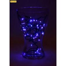 Гирлянда электр. 100 синих ламп 9м,тёмн.нить,8 режимов
