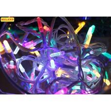 Гирлянда электр. 100 разноцв.ламп (длинных) 9м,прозрачн.нить,8 режимов
