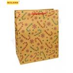 Пакет подарочный из крафт-бумаги Новогодний (L) (26,4х32,7х13,60см) микс